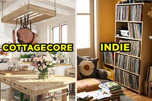 """On the left, a kitchen with a wooden counter with flowers on the table and pots hanging above it labeled """"Cottagecore,"""" and on the right, a living room with bookshelves filled with vinyl records labeled """"Indie"""""""