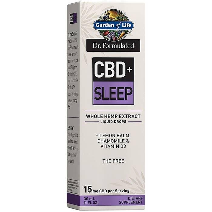 A box of Garden of Life CBD+  Sleep Whole Hemp Extract Liquid Drops