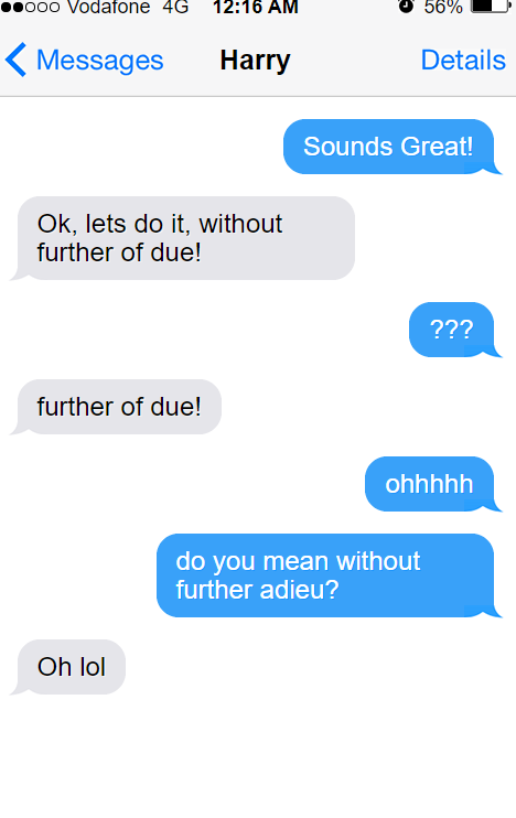 two people who can't remember how to say further ado