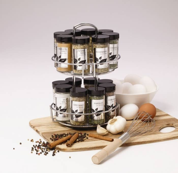 The spice rack filled with jars