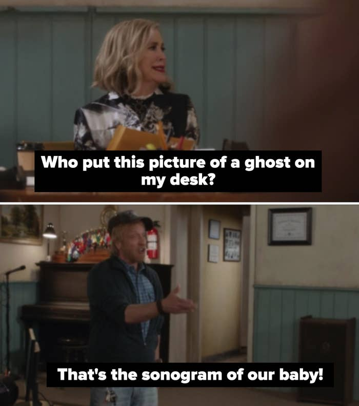 """Moira: Who put this picture of a ghost on my desk?"""" Roland: """"That's the sonogram of our baby"""""""