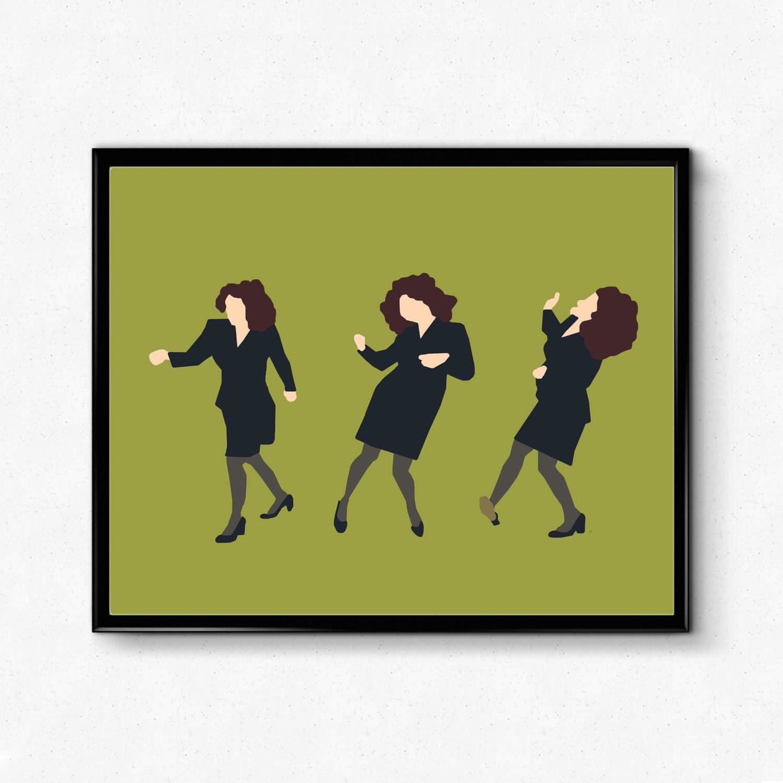 The poster with three illustrations of Elaine dancing on a green background