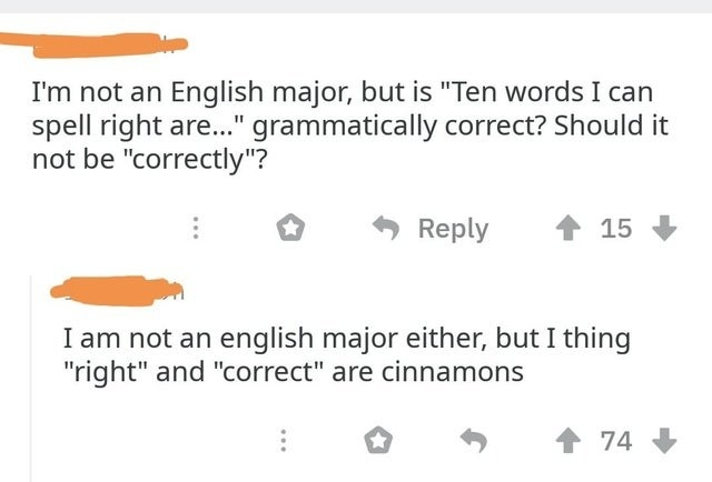 person who spells synonyms as cinnamons
