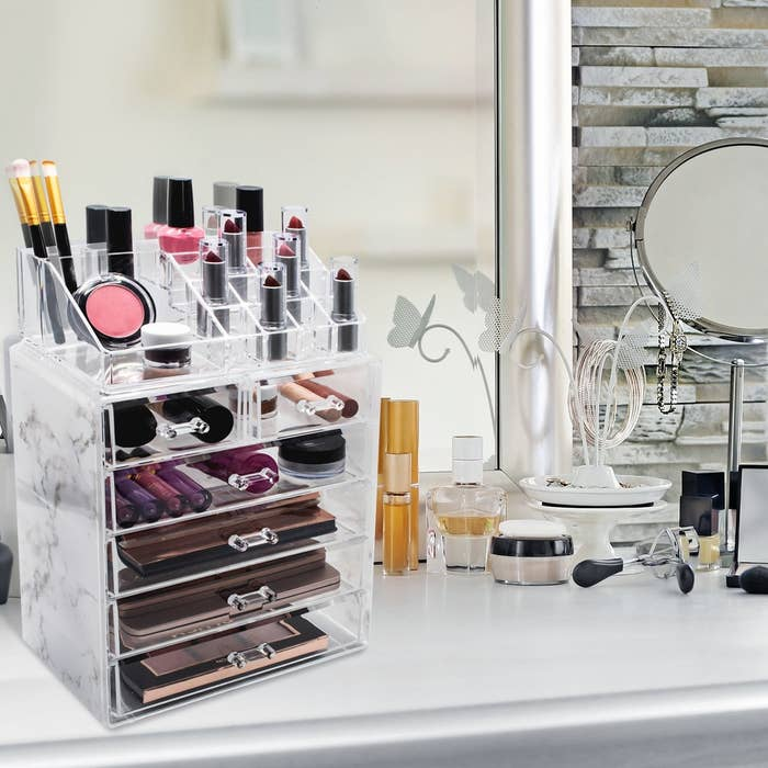 The organizer with makeup items within