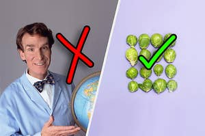 Bill Nye being annoying next to some delicious Brussels Sprouts