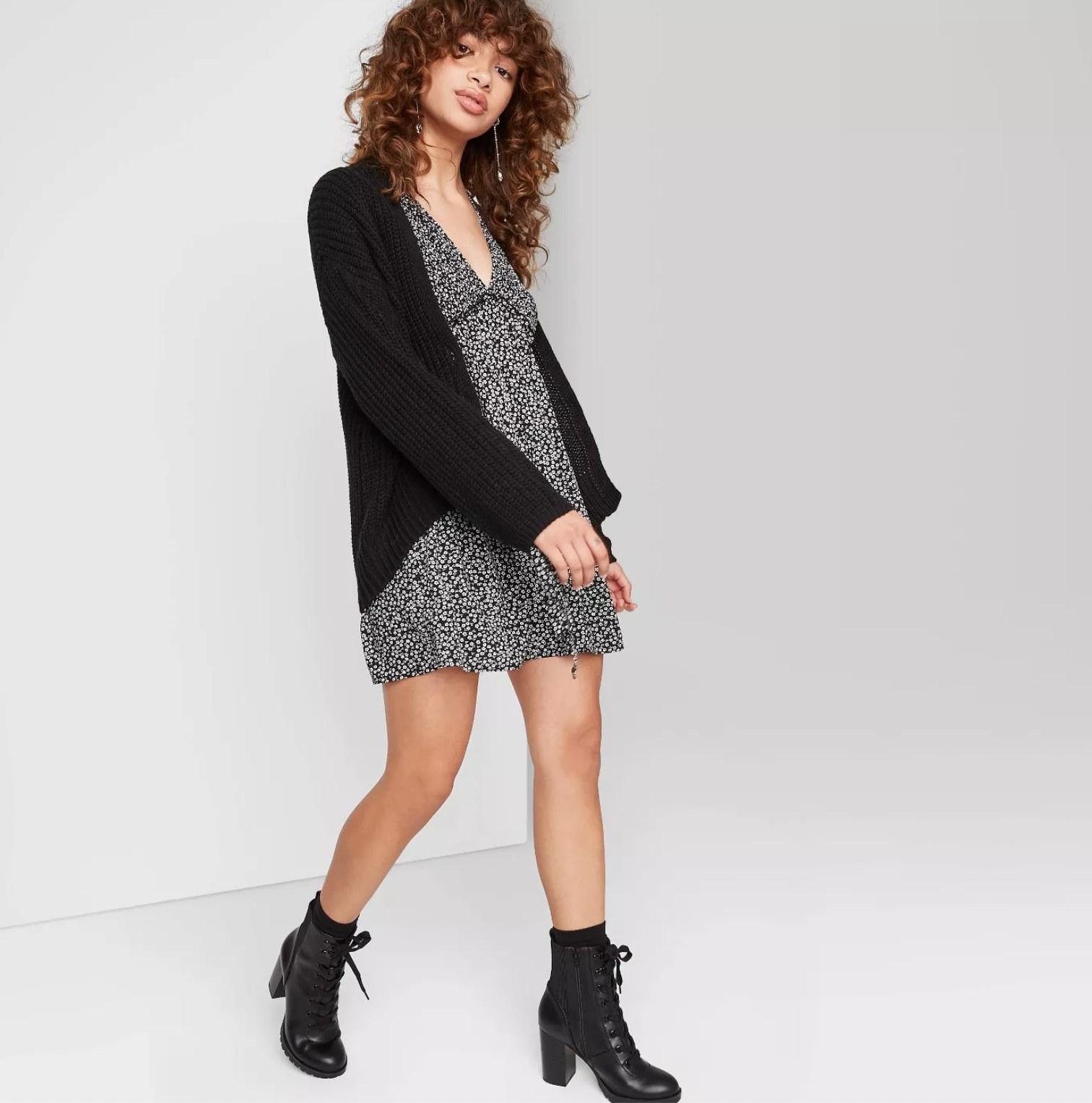 Model wearing the cardigan in black