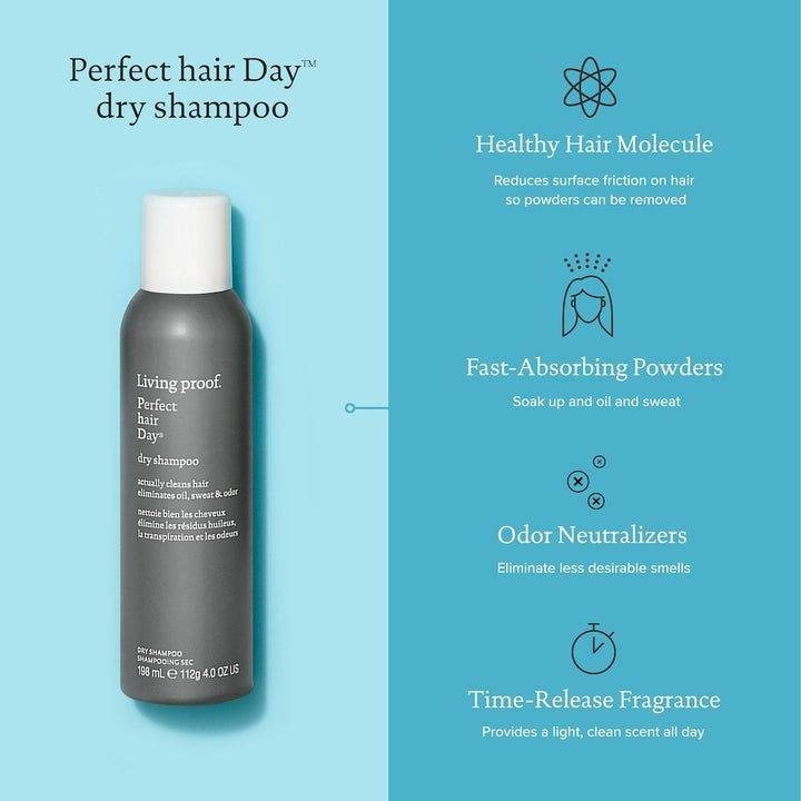 The product contains healthy hair molecules, absorbent powders, odor neutralizers, and fragrance