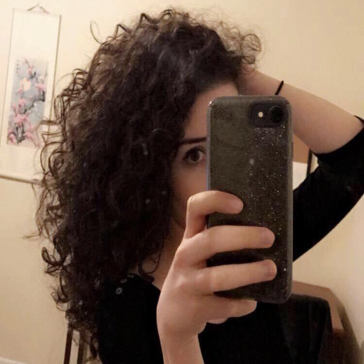 A reviewer's curly hair before applying the Hot Air Brush