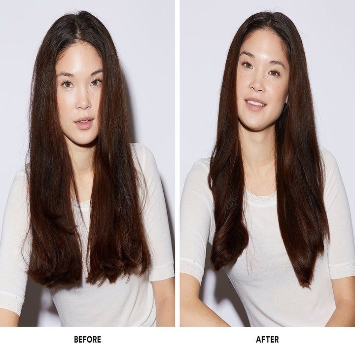 A model with swollen hair before using the product // The same model with flat, shiny hair after using the product
