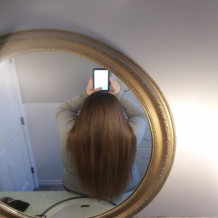 A reviewer's straight hair that took less time to achieve, thanks to the Wonder Water