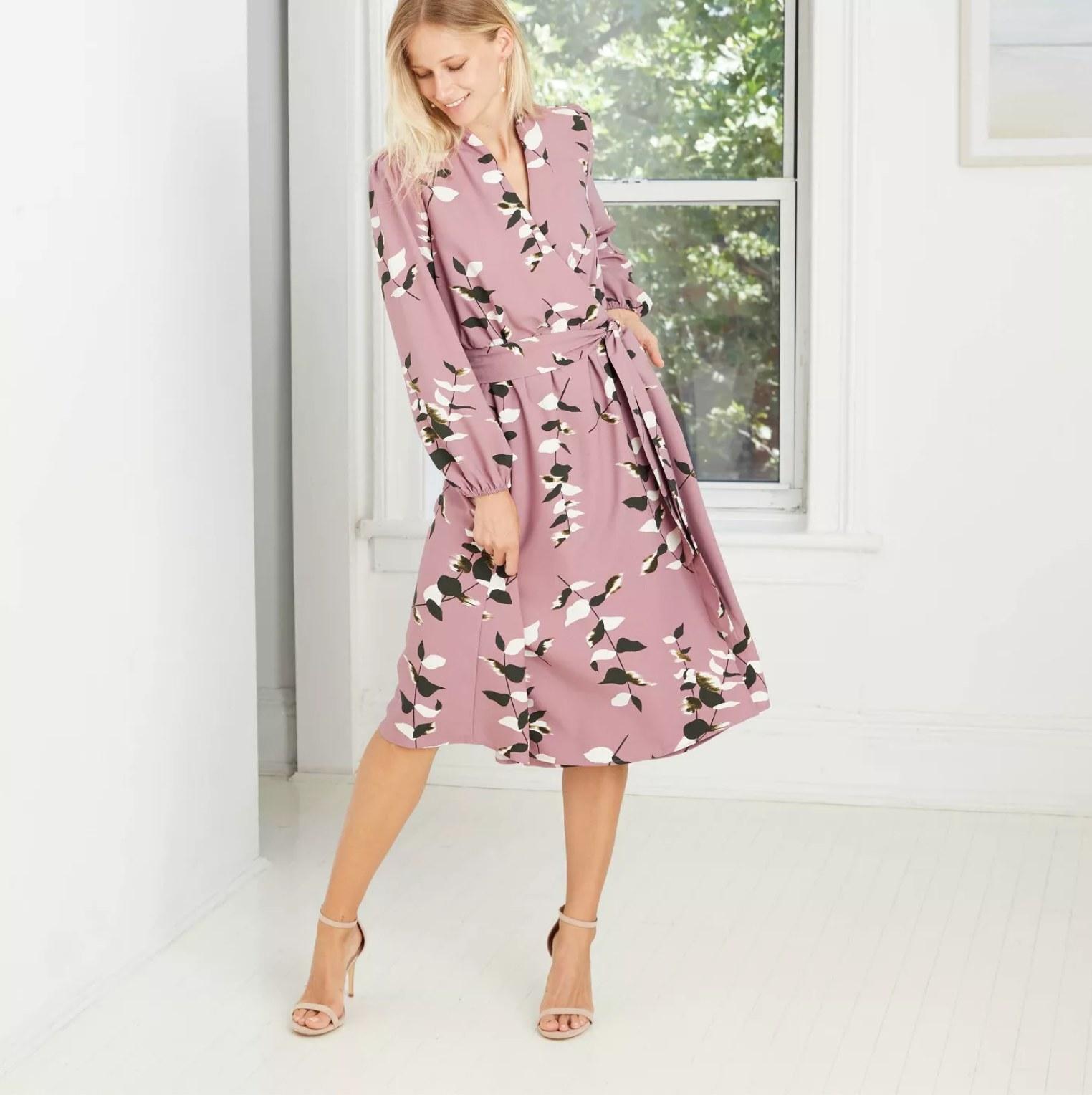 Model wearing the dress in purple