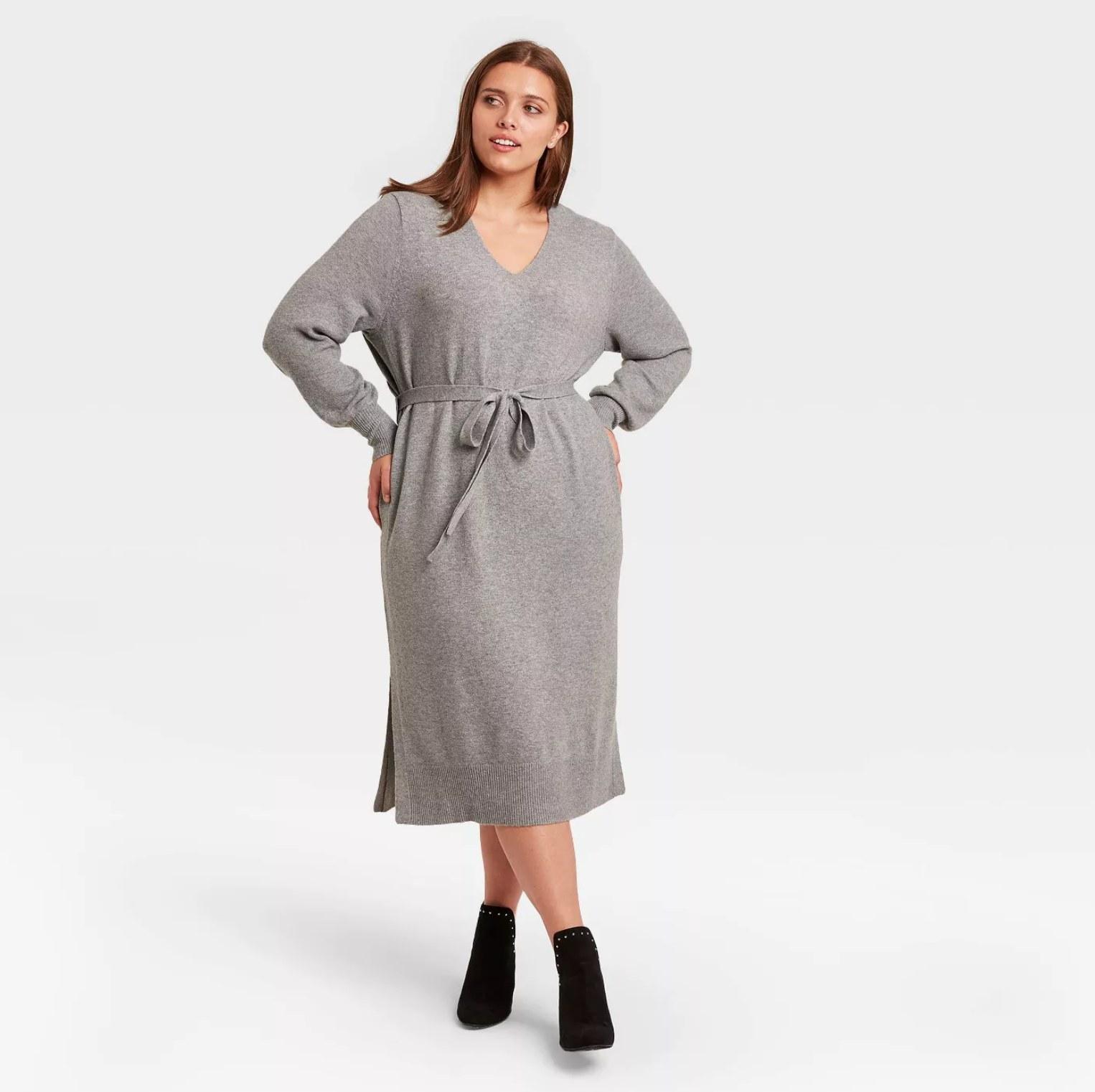Model wearing the dress in grey