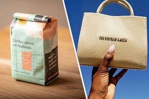 a bag of coffee, a mini tote back that reads end systemic racism