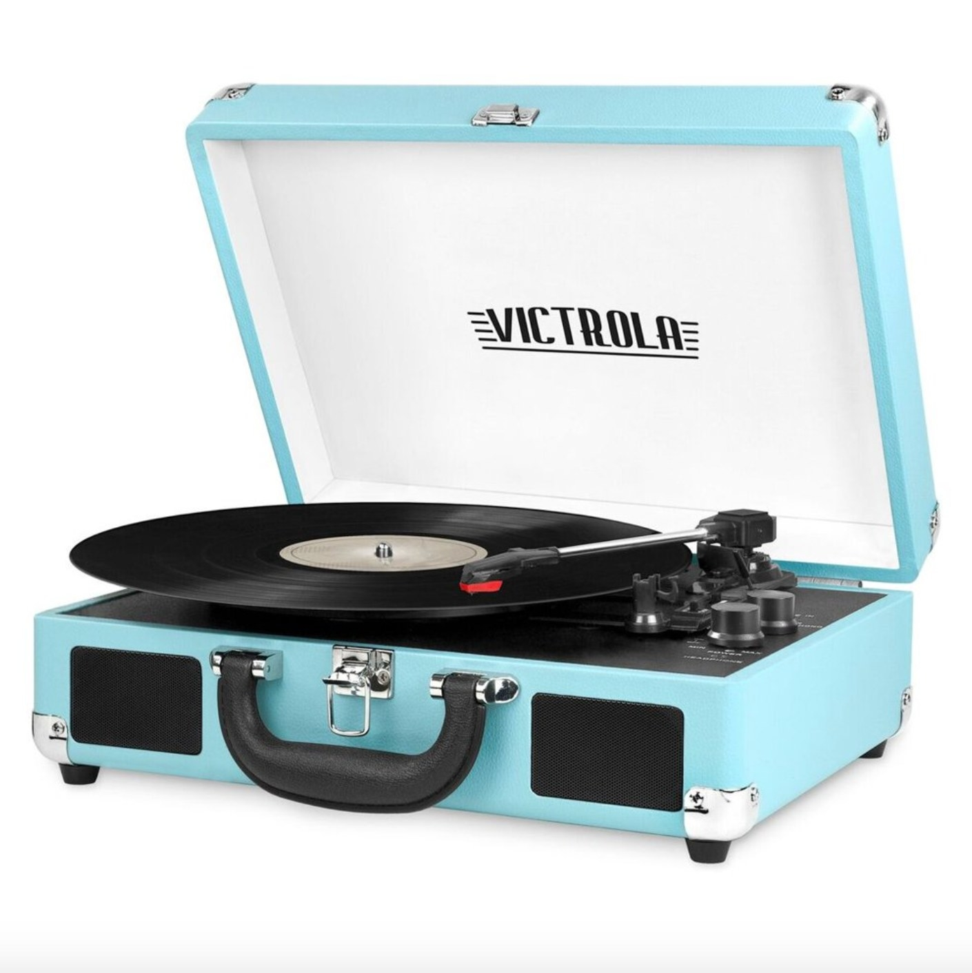 The portable record player in turquoise