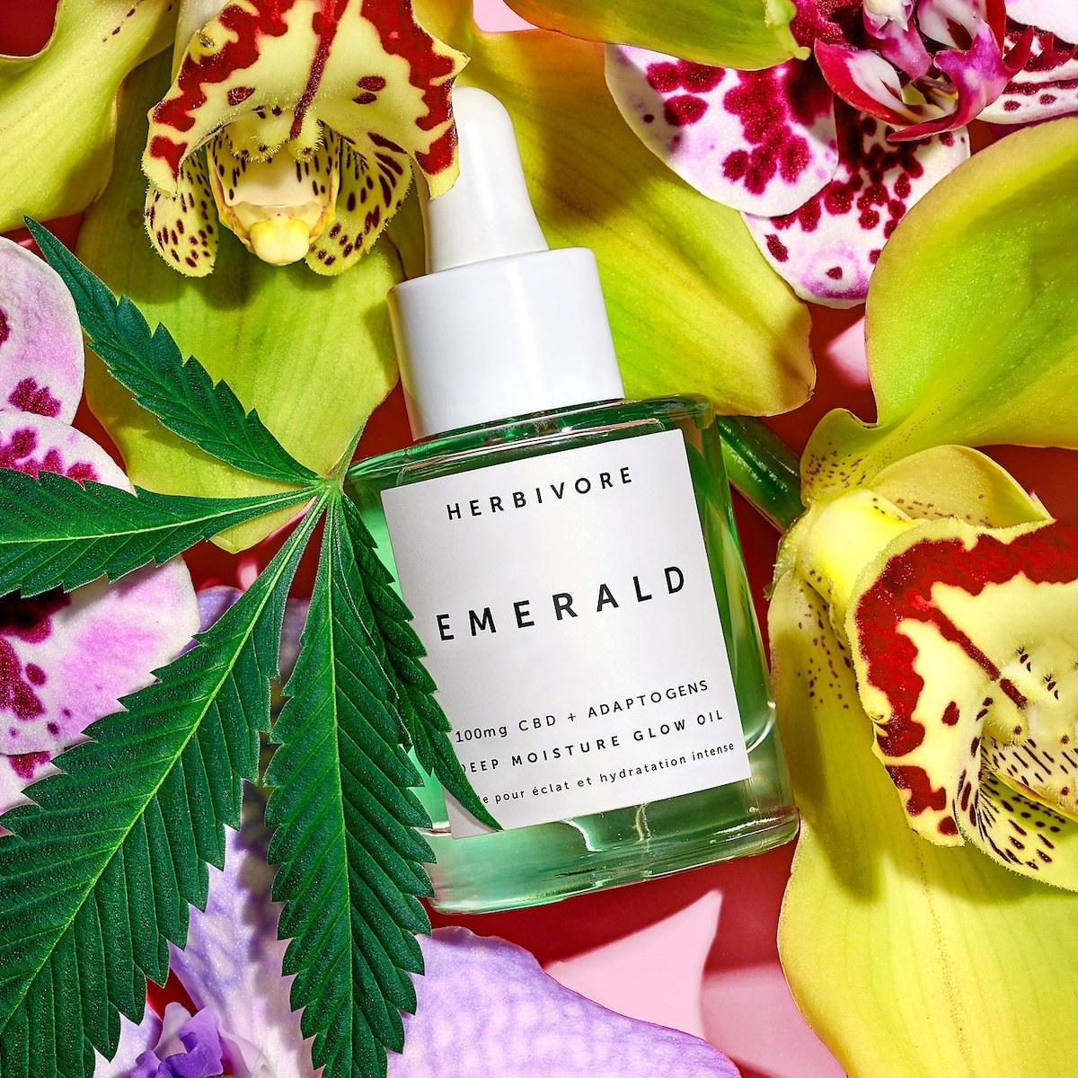 A bottle of Herbivore Emerald CBD + Adaptogens Deep Moisture Glow Oil surrounded by various leaves, flowers, and a marijuana plant