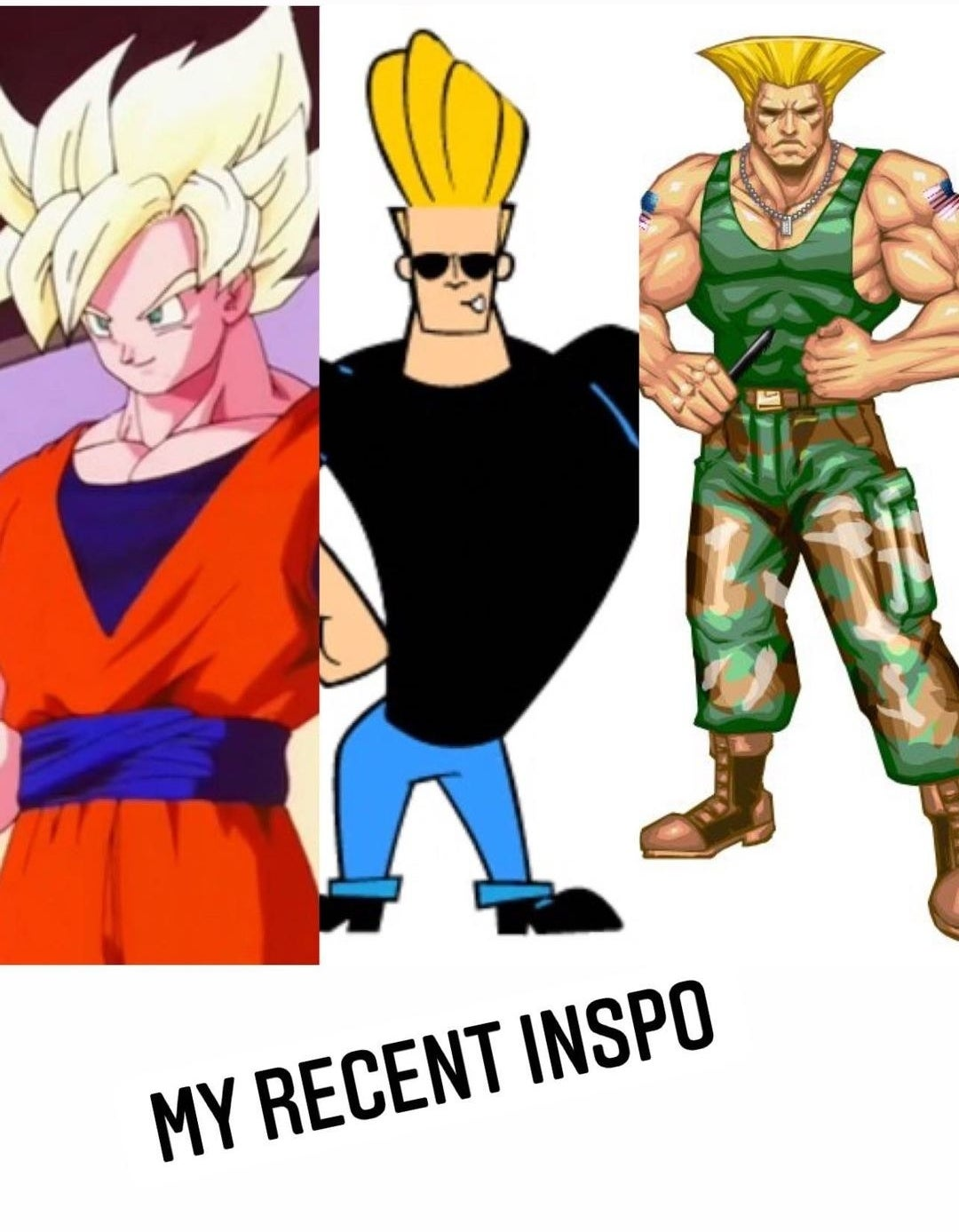 Blonde cartoon characters including Johnny Bravo