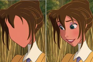 """Side-by-side of Jane from """"Tarzan"""" without her facial features, then a pic with her normal face"""