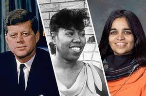 JFK, Ruby Nell Bridges Hall, and Kalpana Chawla posing together