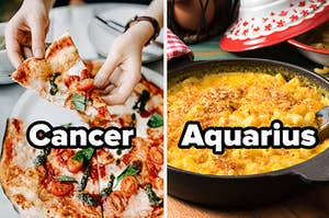 """Pizza with the word """"cancer"""" and mac and cheese with the word """"Aquarius"""""""