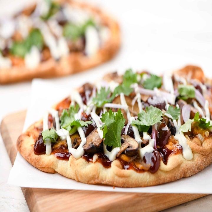 bbq mushroom flatbread with ranch drizzle and cilantro