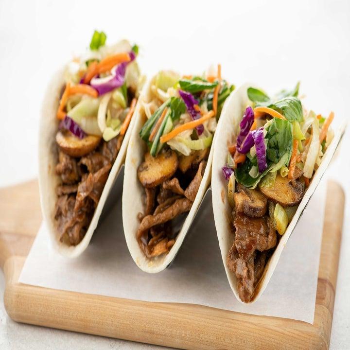hoisin steak tacos with asian sesame slaw and mushrooms
