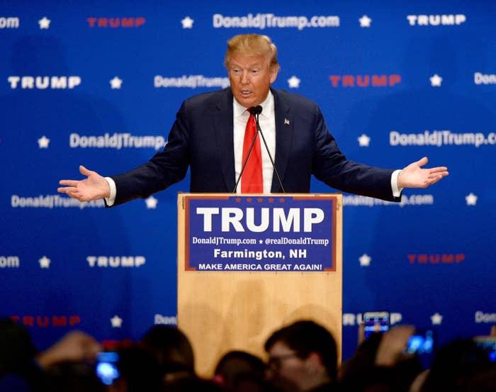 President Donald Trump shrugs