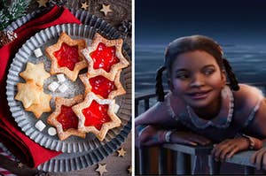 """On the left, some Linz cookies on a plate, and on the right, the girl from """"The Polar Express"""""""