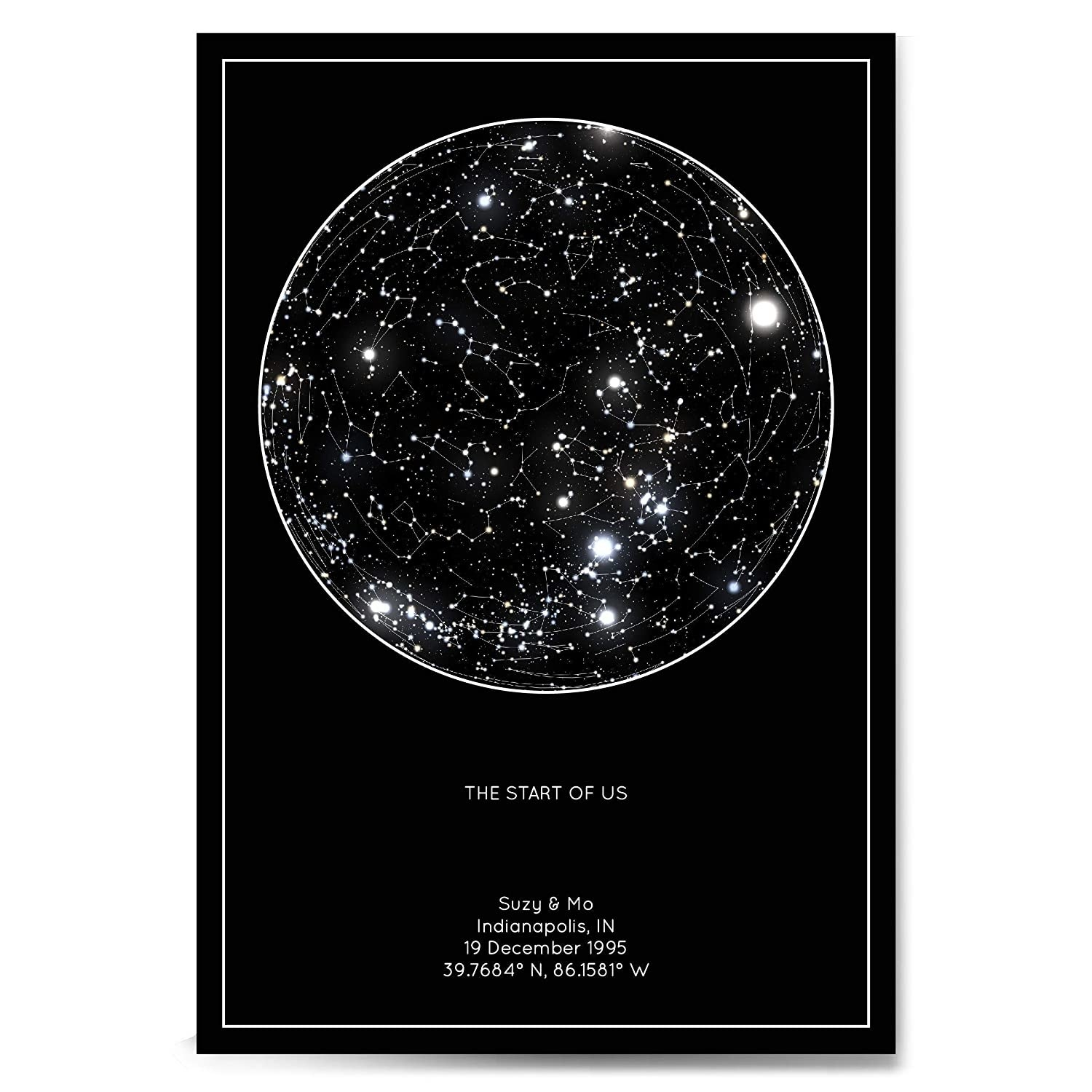 black and white custom star map