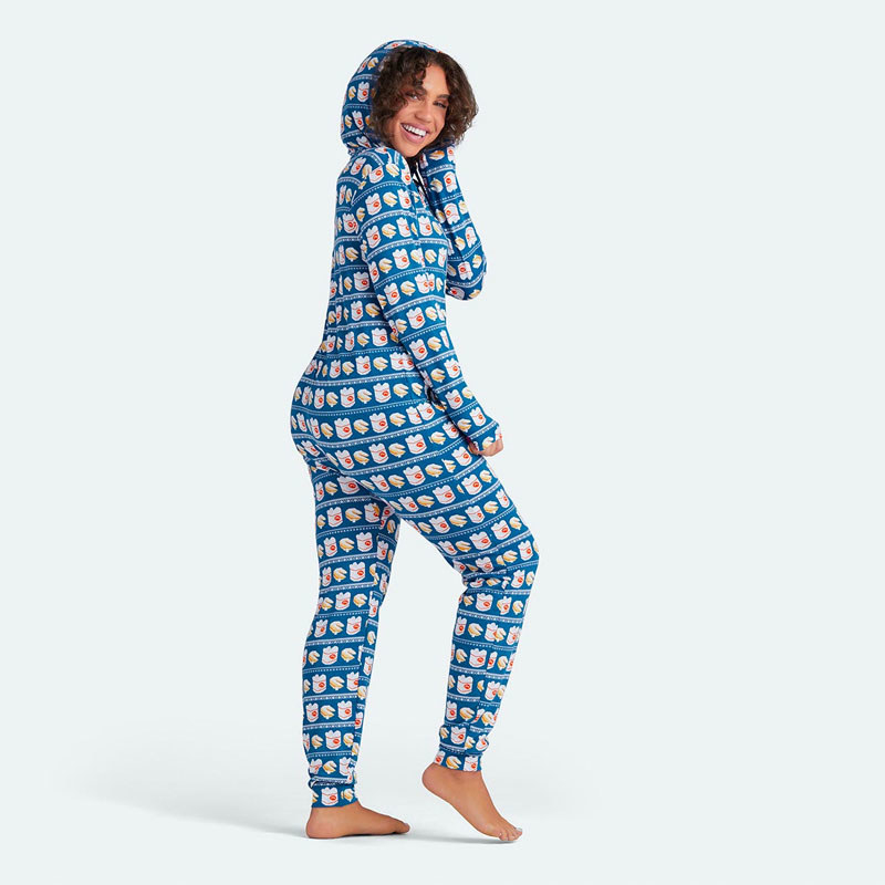 woman wearing blue onesie with takeout box pattern