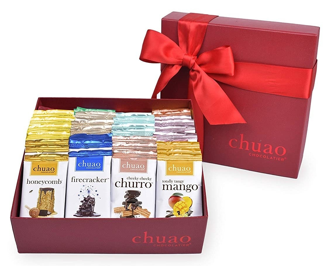 red gift box of various chuao chocolate bars inside