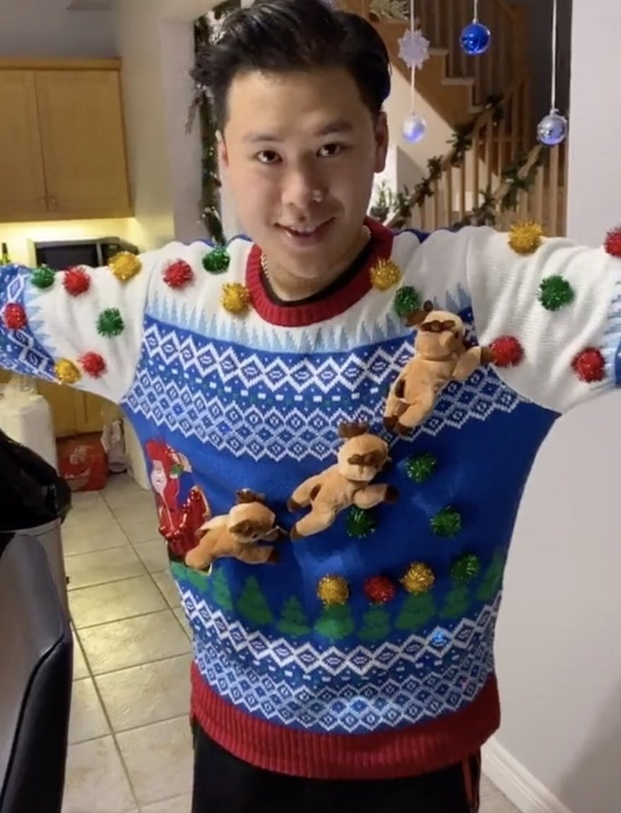 A sweater with 3D reindeer