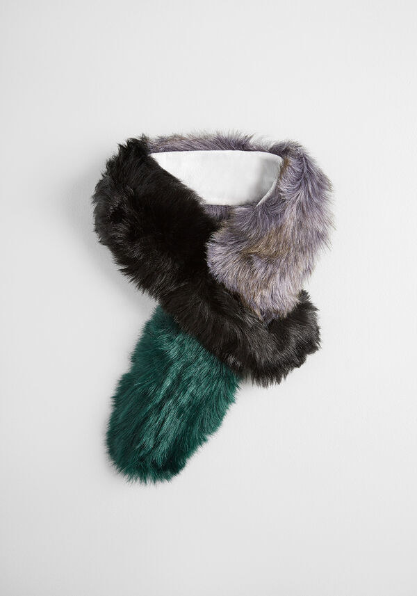 the green, gray, and black faux fur scarf