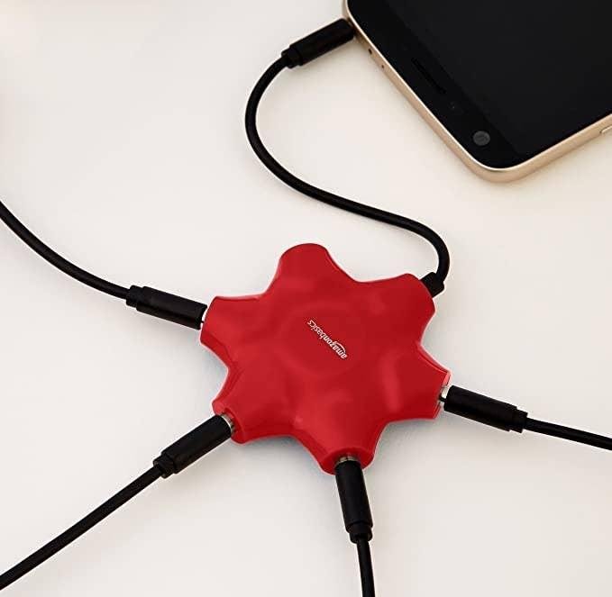 Red audio splitter.