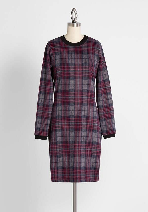 the plaid mini dress with a black neckline and tapered black sleeve hems