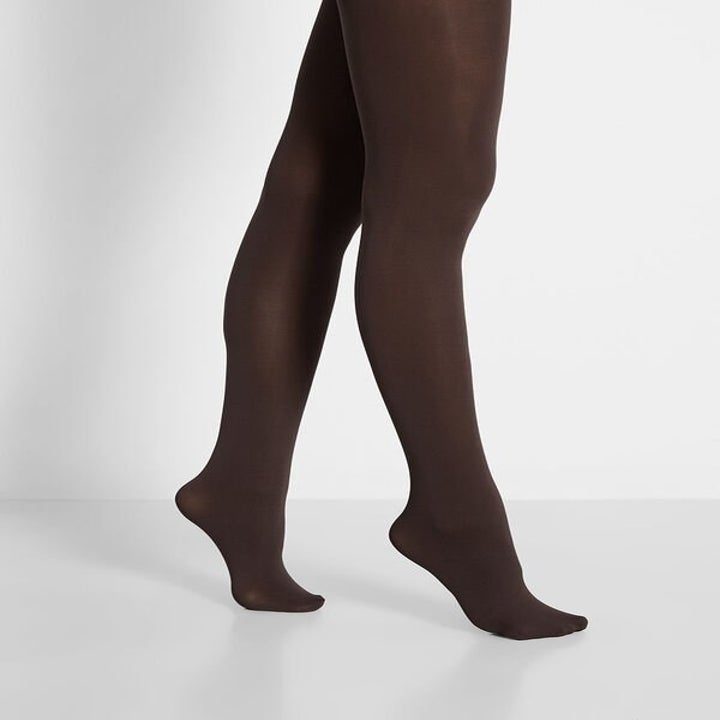 a model wearing the tights in chocolate color