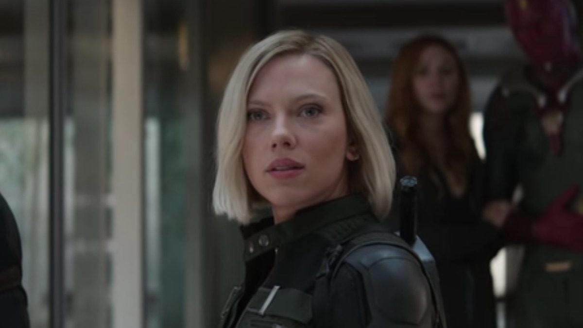 "Scarlett Johansson as Natasha Romanoff in the movie ""Avengers: Infinity War."""
