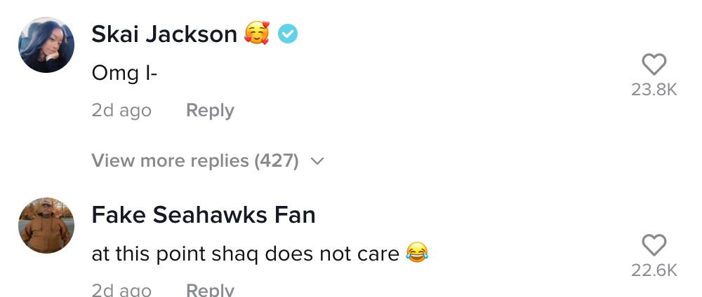 People reacting to Shaq's comment
