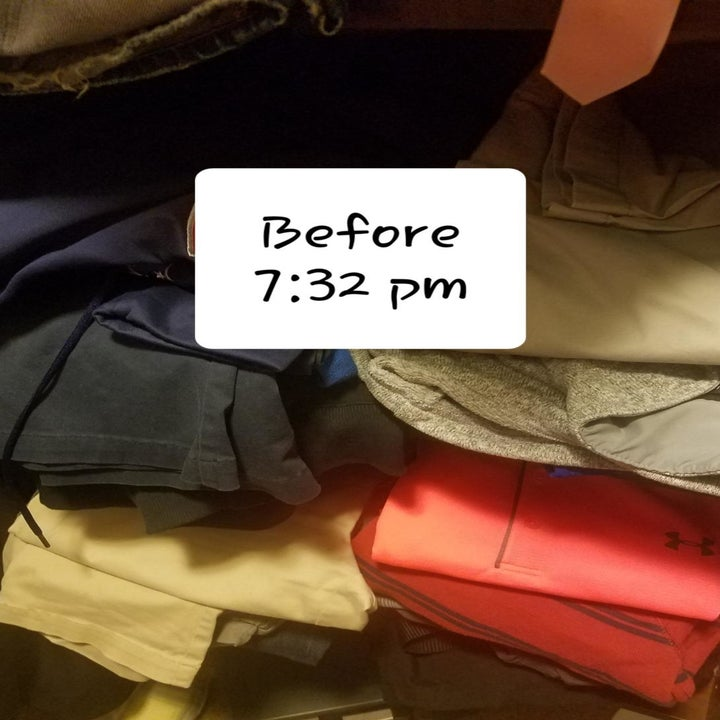 reviewer photo showing messy shelves in their disorganized closet at 7:32pm