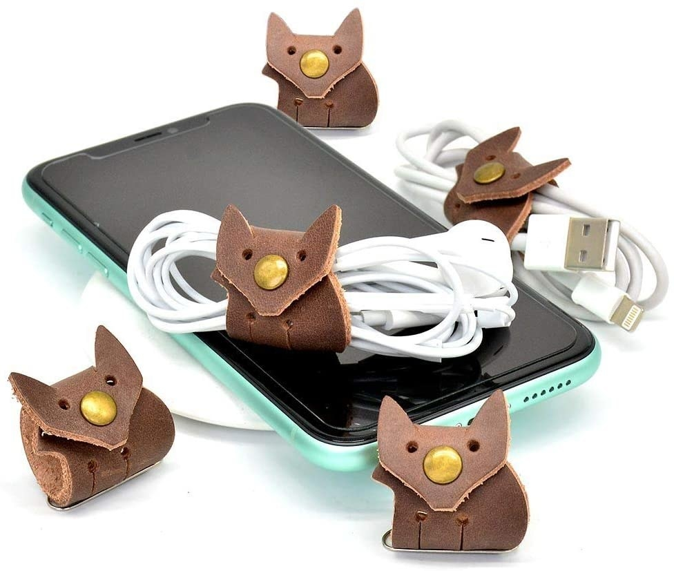 phone with leather look fox-shape cord wrap