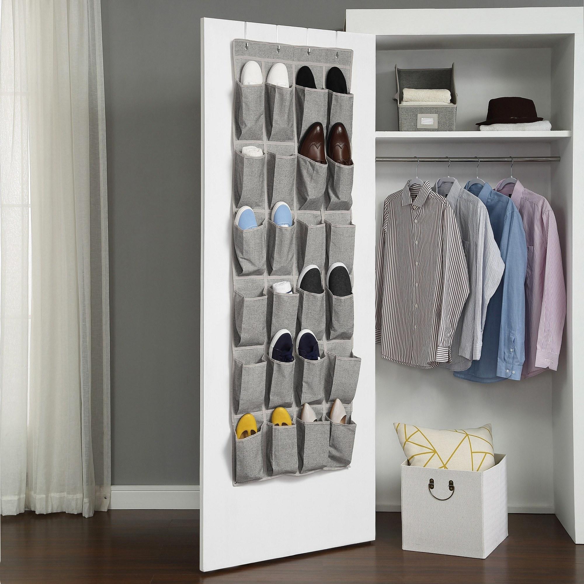 The organizer hung over a closet door