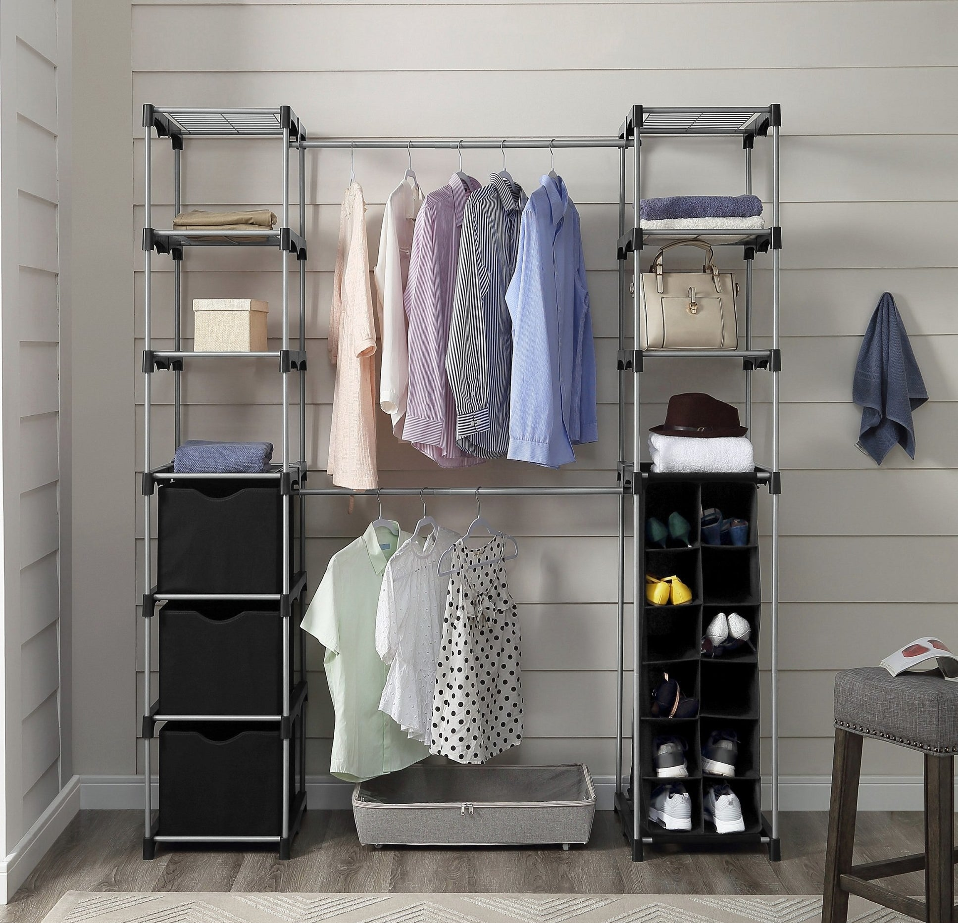 The closet system with shoes, clothes, and accessories