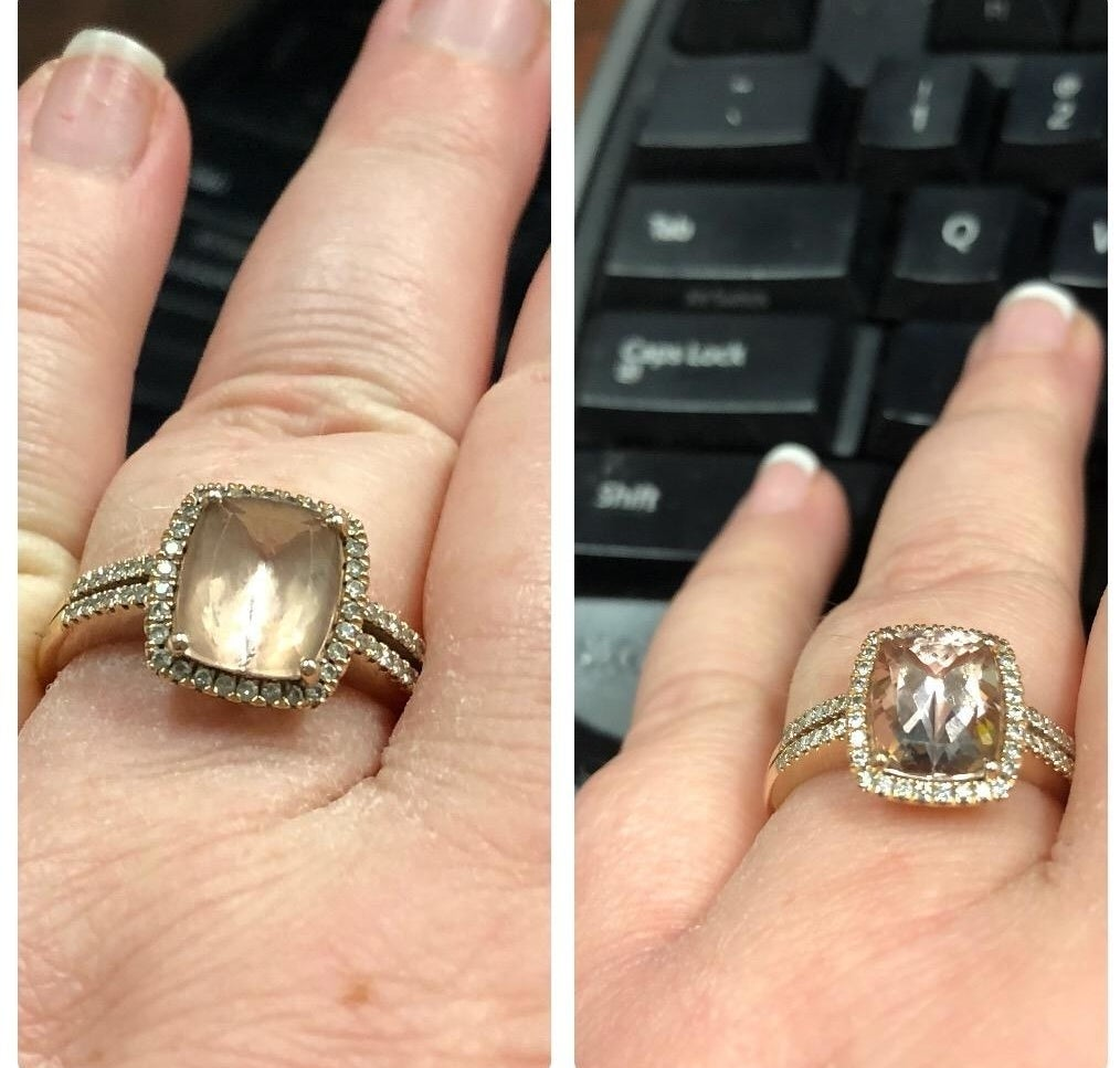 a split shore of a ring before and after being cleaned