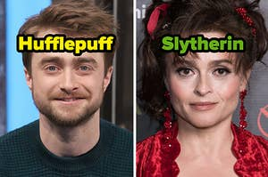 """Daniel Radcliffe is on the left labeled, """"Hufflepuff"""" with Helena Bonham Carter labeled """"Slytherin"""""""