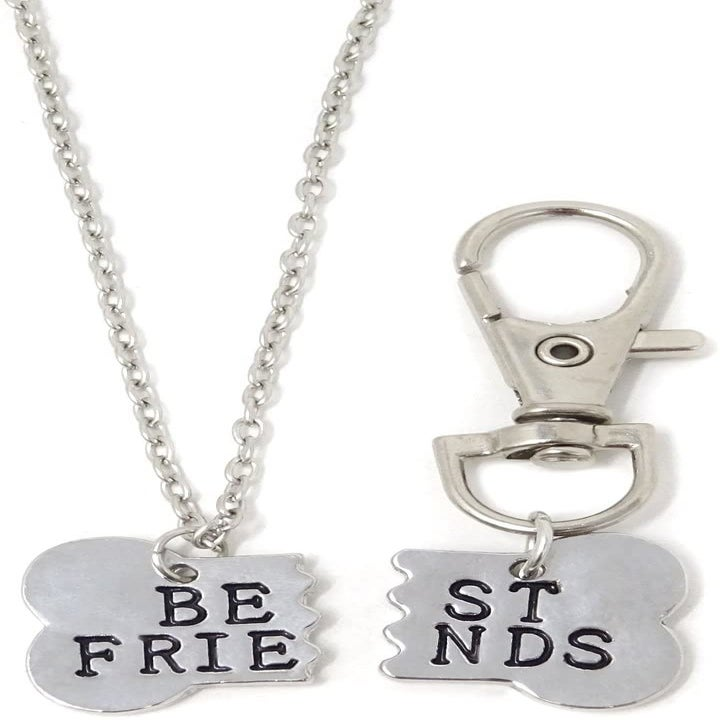 "The necklace and charm, which each has a half of a bone-shape broken in half that when put together again, says ""best friends""."