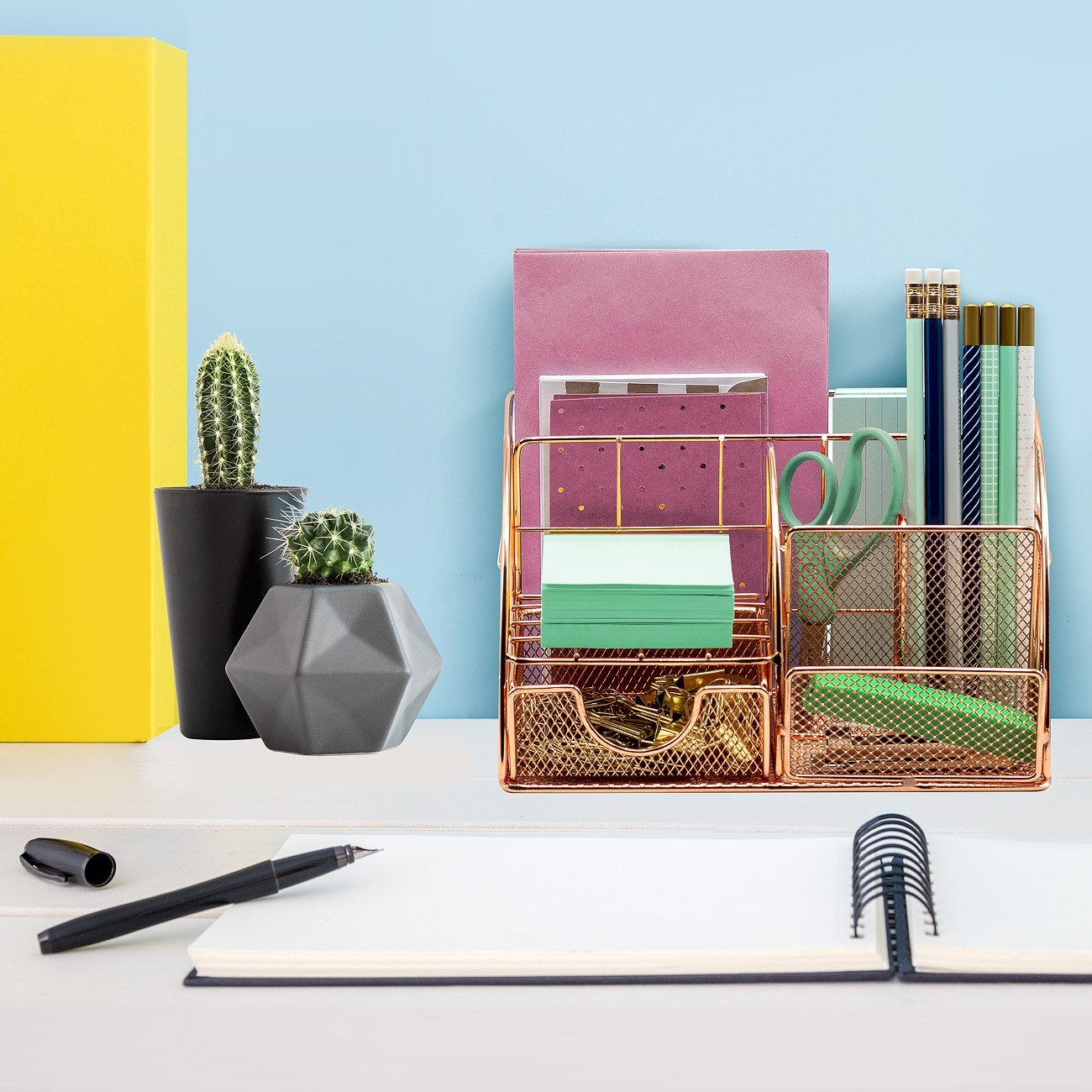 The desk organizer with items within