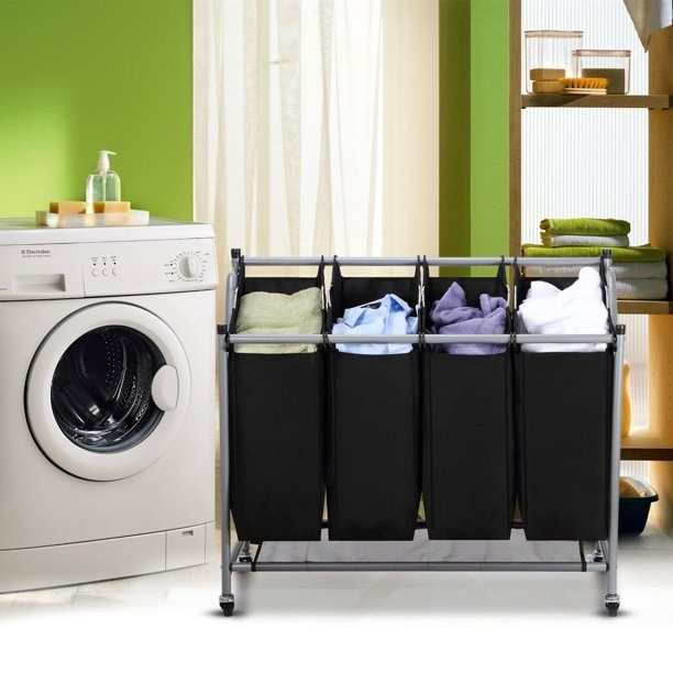 The cart filled with laundry