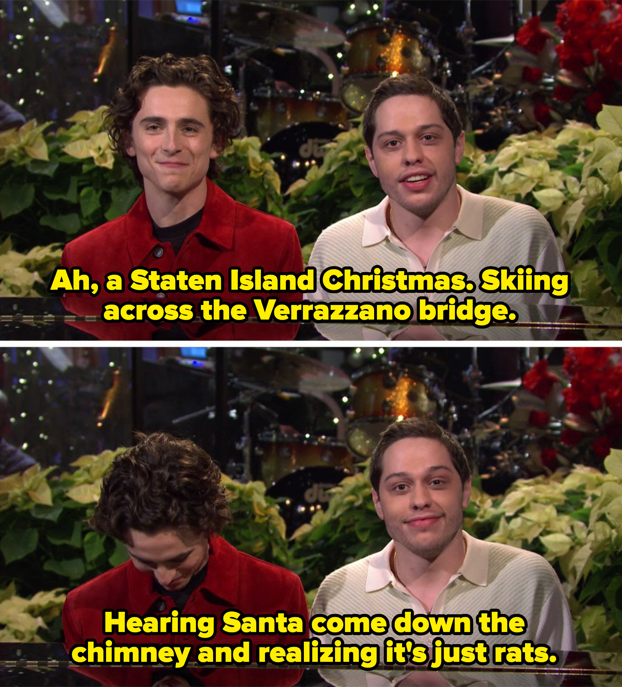 Pete talking about skiing on the bridge and rats coming down the chimney instead of Santa