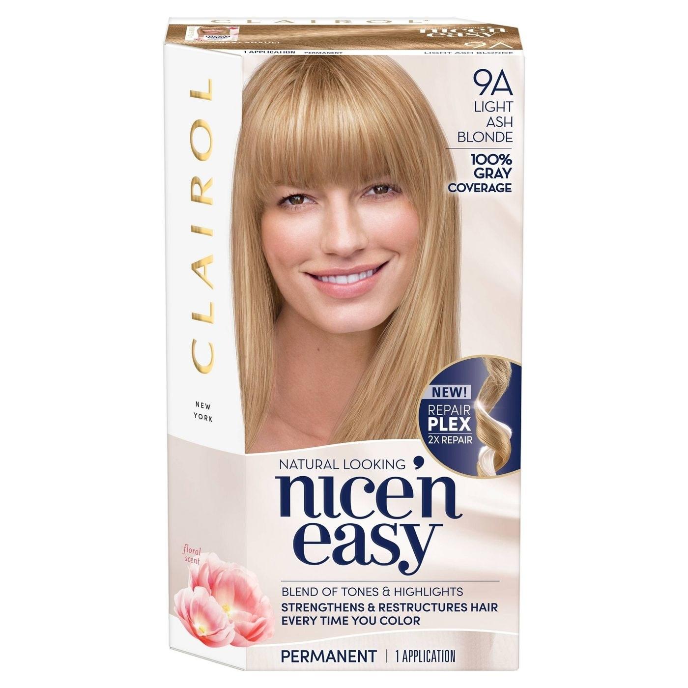 A box of Clarol Nice'n Easy hair color