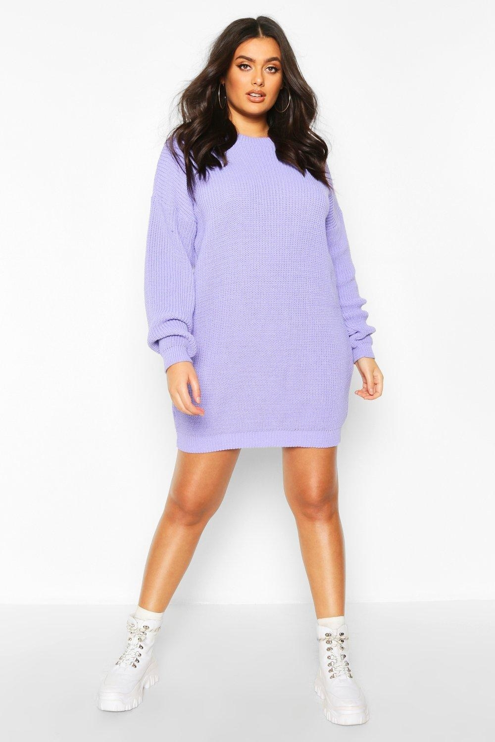 Model wearing the lavender sweater dress