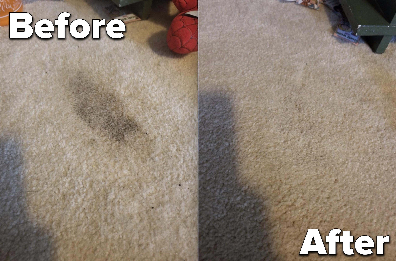 Carpet before and after using citrus pet odor eliminator spray.